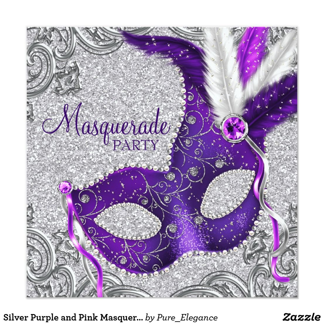 Silver Purple and Pink Masquerade Party Card | Masquerade party ...
