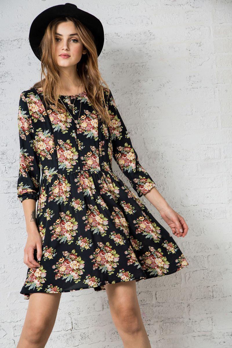 Vestidos de flores manga larga