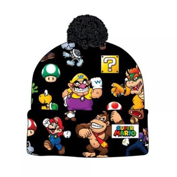 e0b902310f7 Super Mario Bros. Sublimated Print Cuff Knit With Pom Beanie ...