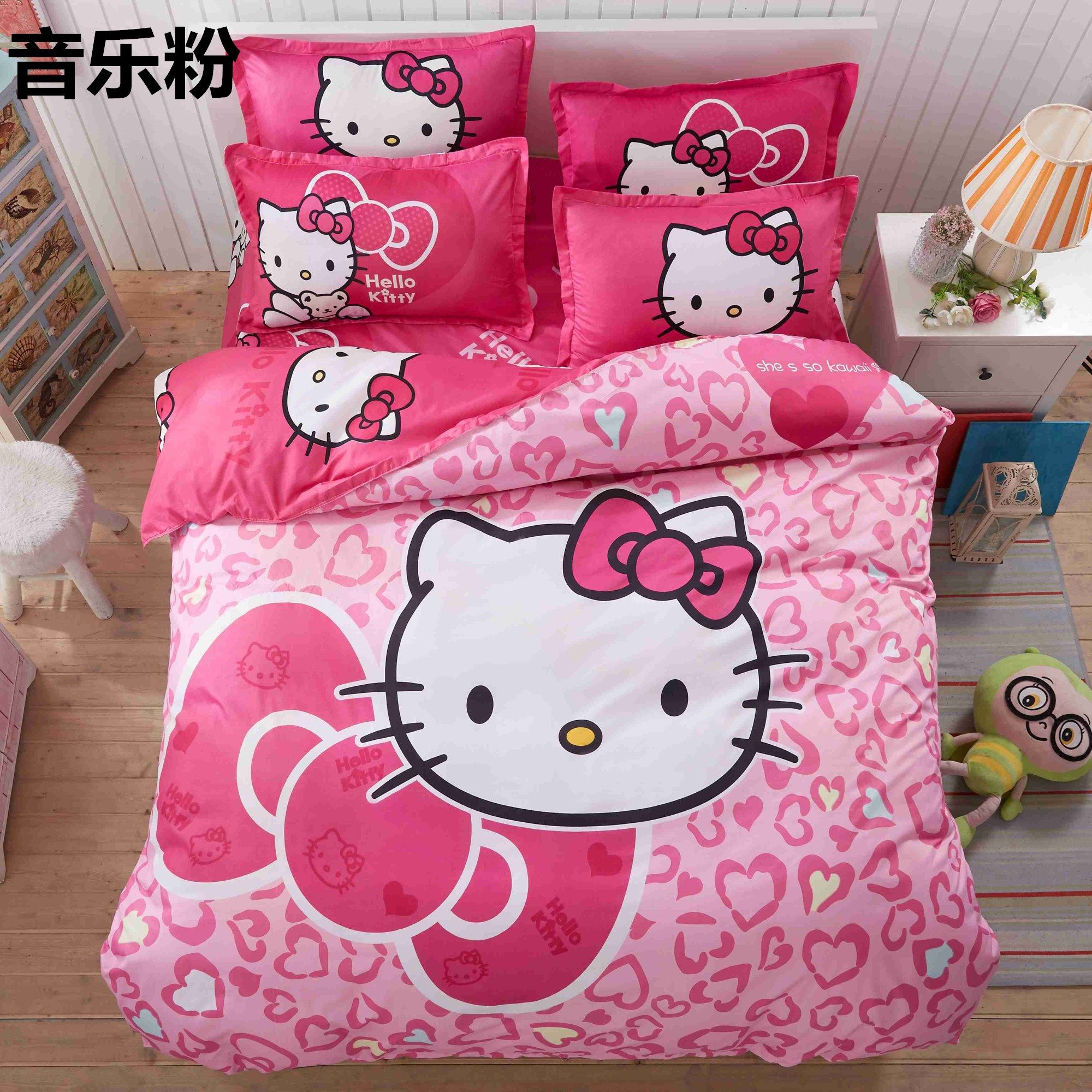 Home Textile Hello Kitty Bedding Set Cartoon Cotton Bed Set For