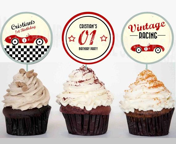 VINTAGE RACE CAR Cupcake Toppers Vintage Racing Car Printable