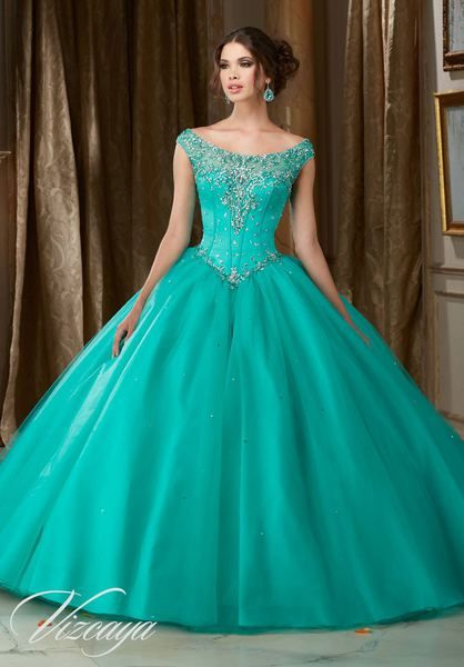 b474ee660d5 Jeweled Beaded Satin Bodice on a Tulle Ball Gown  89108AQ ...