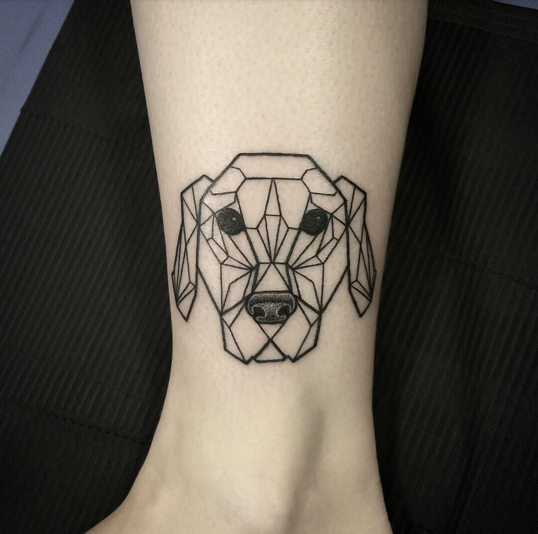 origami style tattoo modeled after my golden retriever done at white raven tattoo nl tattoo. Black Bedroom Furniture Sets. Home Design Ideas