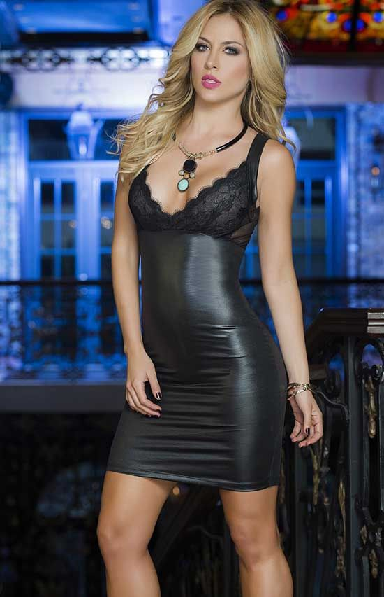 f095b2163ef Slinky Wet Look Club Mini Dress by Espiral. Glossy wet look dress with lace  bust