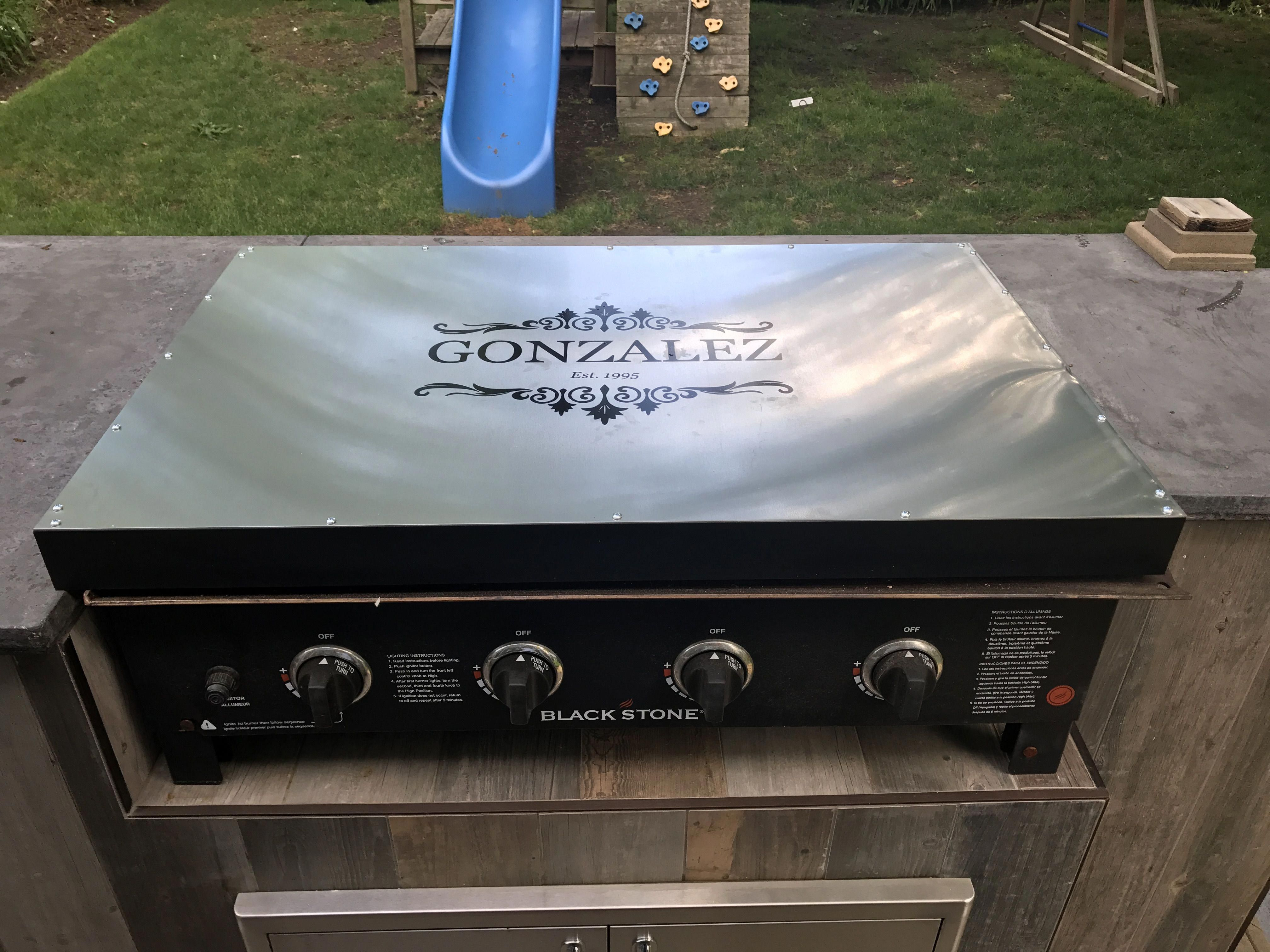 Stove Top Cover For Blackstone Griddle Made Out Of Aluminium Sheet For The Top With A Vinyl Decal And Com Outdoor Bbq Kitchen Outdoor Bbq Backyard Diy Projects