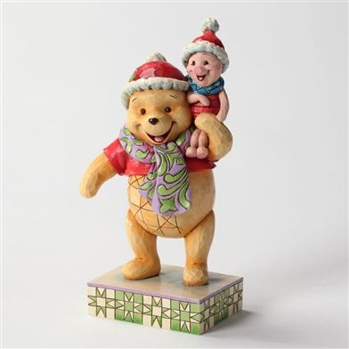 Disney Traditions Winnie the Pooh and Piglet in Santa Hats Figurine by Jim Shore, 4027920