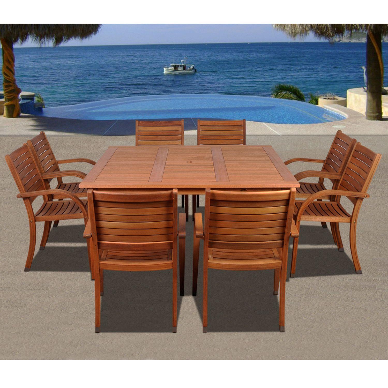 Arizona 9 Piece Eucalyptus Square Patio Dining Set (With