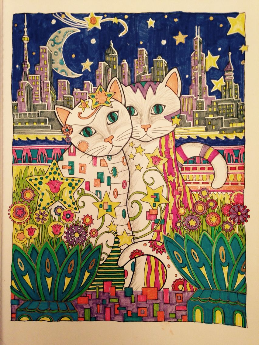 Moonlight cats coloured by hazel smithies in crayola supertips and