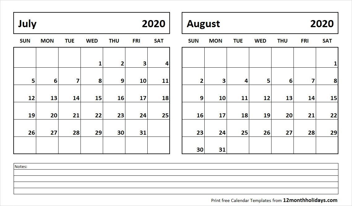 July And August 2020 Calendar July and August 2020 Calendar | 2018 Calendar | June 2019 calendar