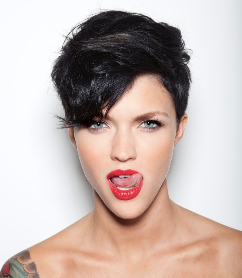 Edgy and cute make up red lipstick short hair cuts pinterest