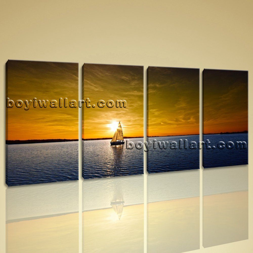 Large Sailing Boats Ocean Sunset Seascape Impressionism On Canvas ...