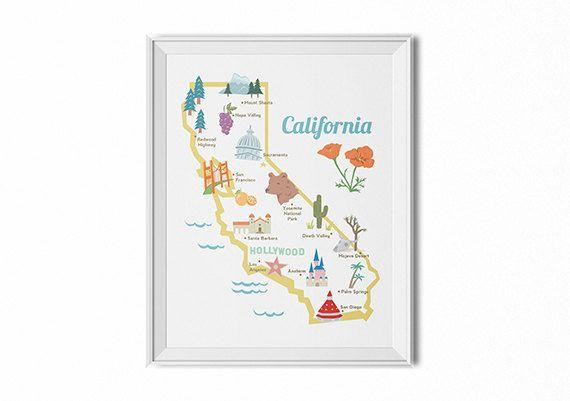State map poster, California state print, retro map illustration, vintage travel art, retro desert art, children's room art, map wall art