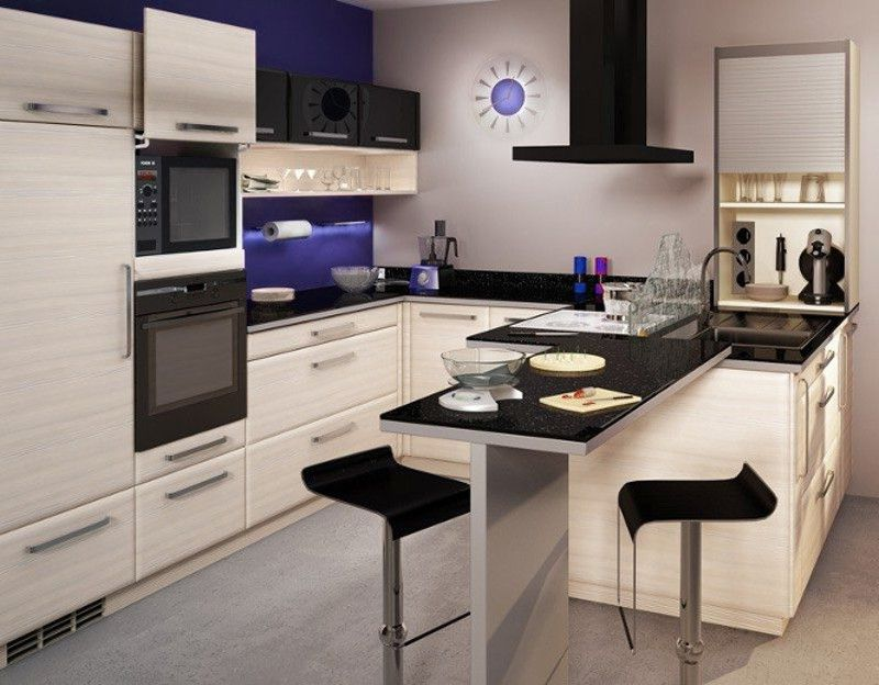 Peque a cocina americana con puertas termolaminadas for Muebles de cocina americana pequena