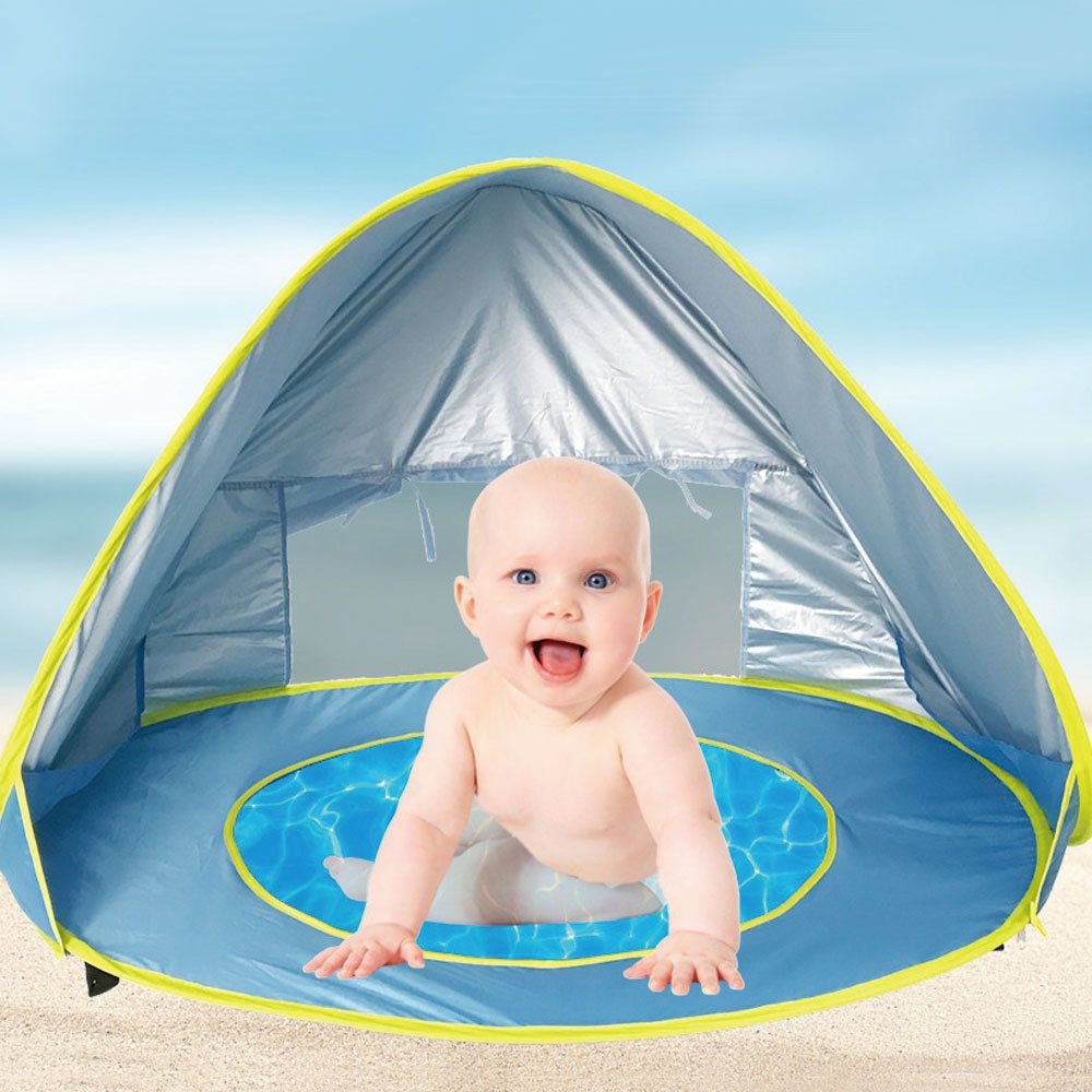 Baby Beach Waterproof Pop Up Awning Tent Uv Protecting Sunshelter With Pool Kids Baby Beach Tent Beach Tent Beach Baby