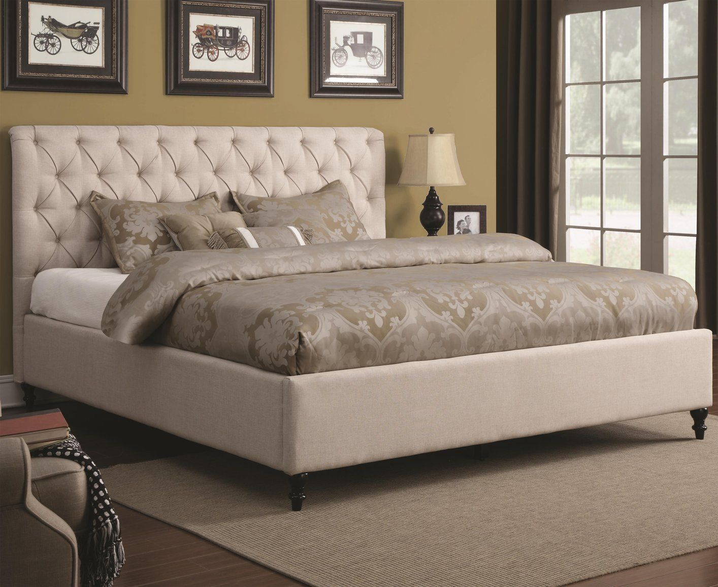 Beautiful Beige Fabric California King Size Bed Beds for
