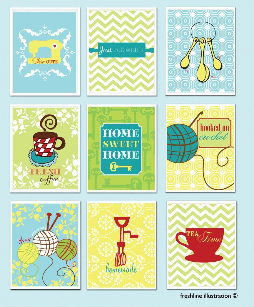 Kitchen + Craft Art Print Set http://www.etsy.com/listing/123992232 ...