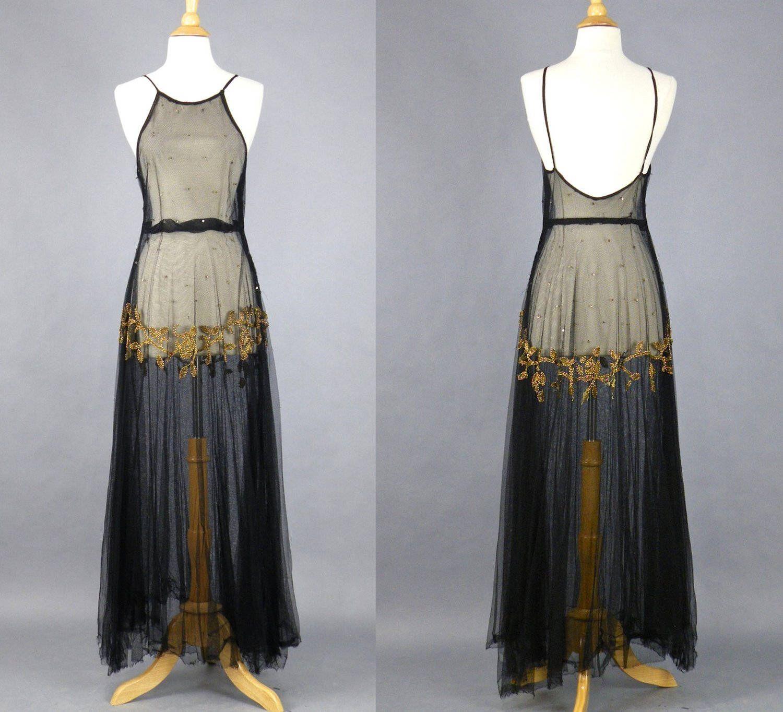 Vintage 1930\'s Beaded Net Evening Dress, Art Deco 30s Dress, 1930s ...