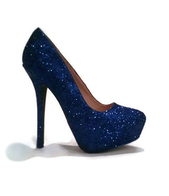 Glitter Heels   Royal Blue Glitter Heels   Wedding Shoes   Sparkle ... 78e62f564