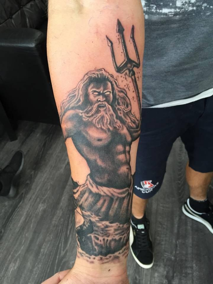 Beautiful Start To A Greek Mythology Sleeve With Poseidon Today Done By Greg To See His Next Availabl Poseidon Tattoo Greek Tattoos Delicate Tattoos For Women