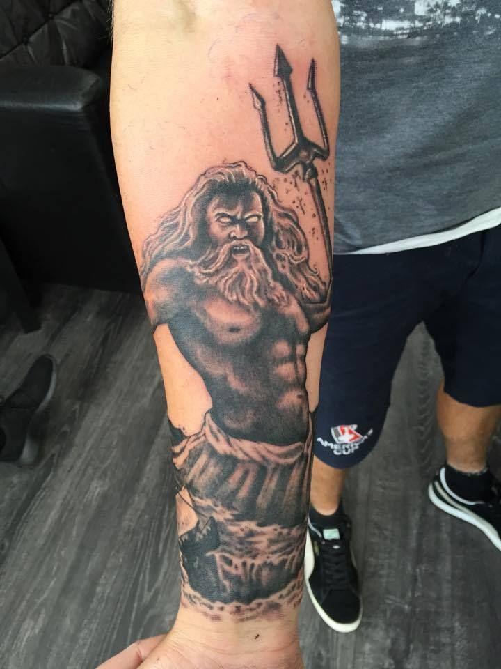 Poseidon Tattoo: Beautiful Start To A Greek Mythology Sleeve With Poseidon