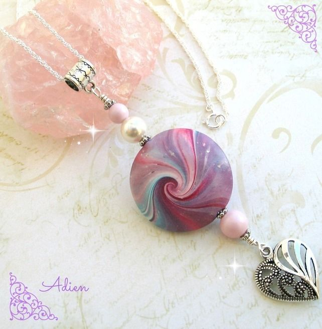 Pinks and Blues Pendant Sterling Silver Chain £12.95