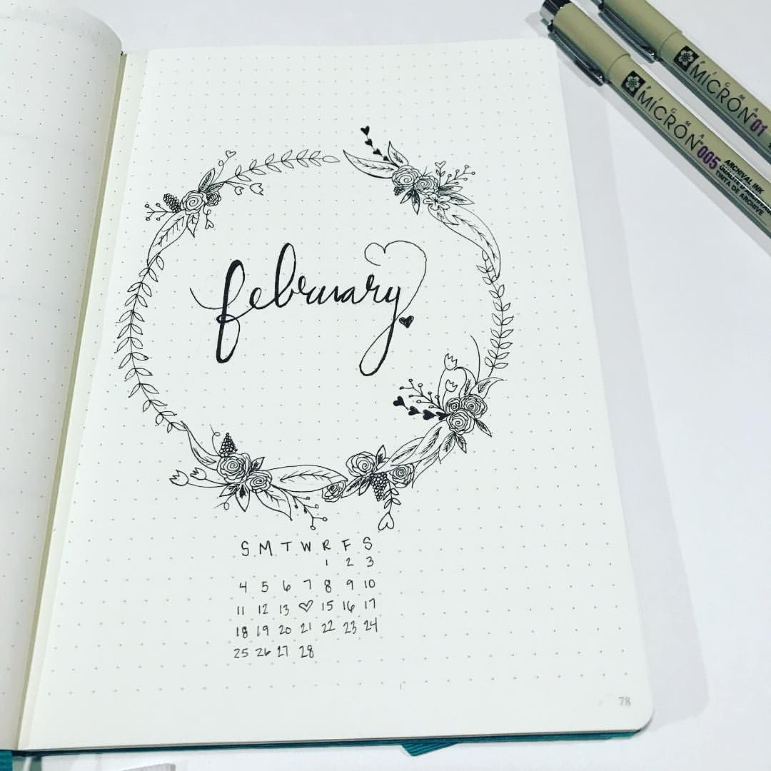 Beautiful February cover page! Bullet Journal Monthly Cover Drawing ...