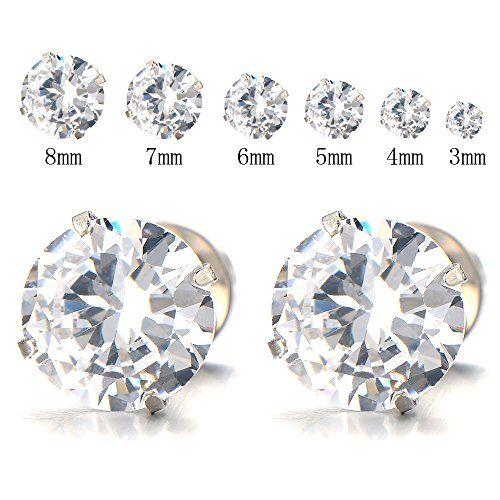 500cd0923 3-8 MM Mens Ladies White Cubic Zirconia Stud Earrings Stainless Steel Screw  Back Post
