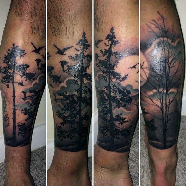 forest tattoo designs  men masculine tree ink