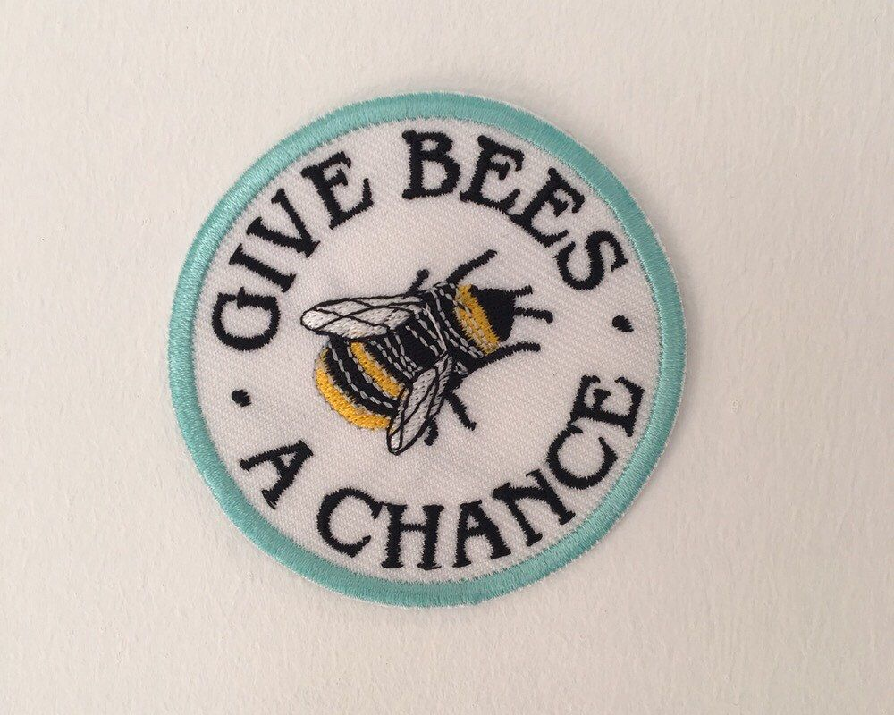 Give bees a chance / iron on patch / feminist embroidery / vegan badge by halfstitchembroidery on Etsy https://www.etsy.com/listing/494344337/give-bees-a-chance-iron-on-patch