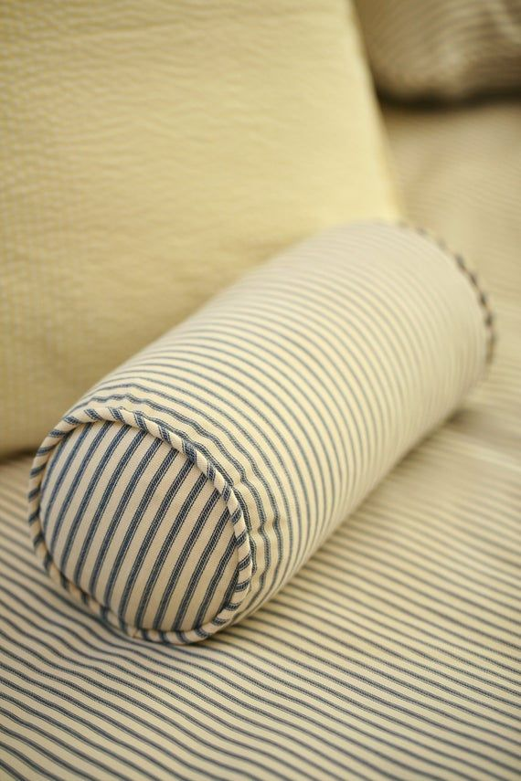 Ticking Stripe Bolster Pillow with Insert 6 x 12 - Black, Navy, Red, Gray, Brown