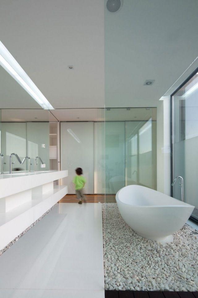 barrierfreies puristisches bad-weiße badmöbel-glanz-fußboden, Hause deko