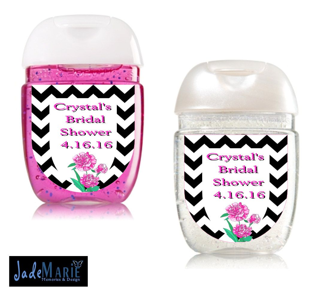 Peony Floral Bridal Shower Hand Sanitizer Labels Bridal Shower