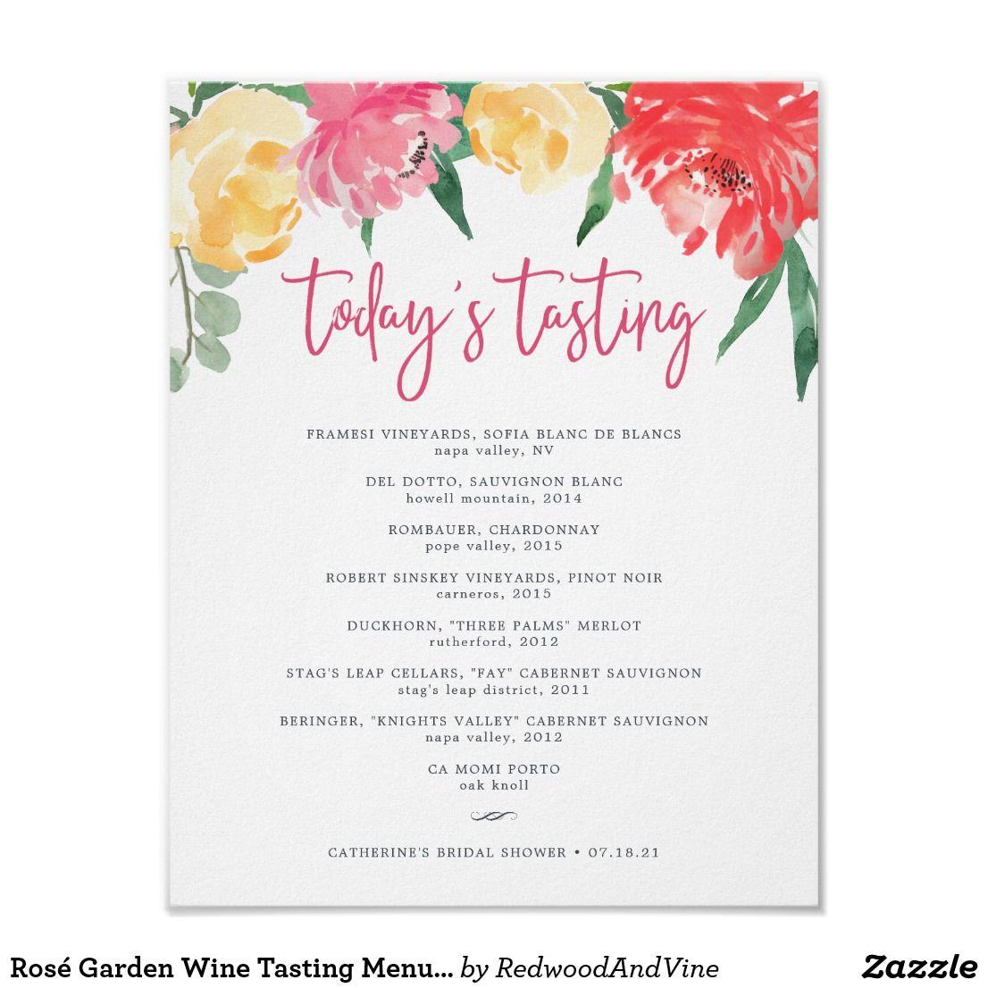 Rosé Garden Wine Tasting Menu Sign Wine