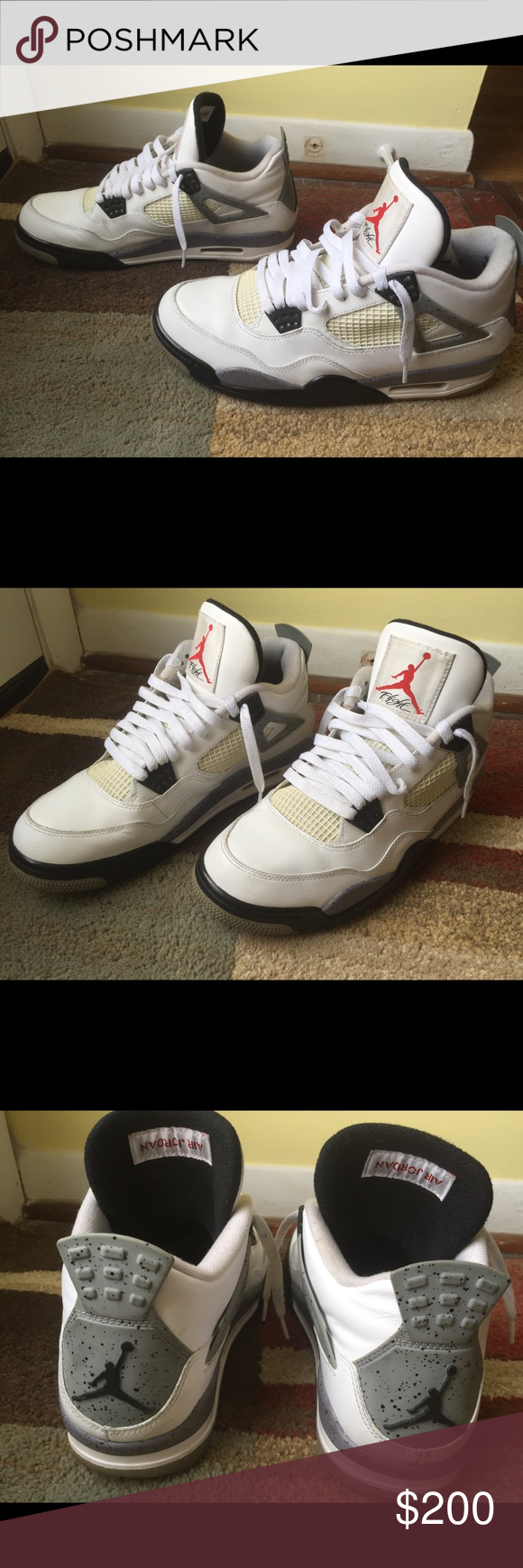 official photos f4a94 d19aa Jordan 4 Retro White Black Cement Grey 308497-103 2011 model. These shoes  are