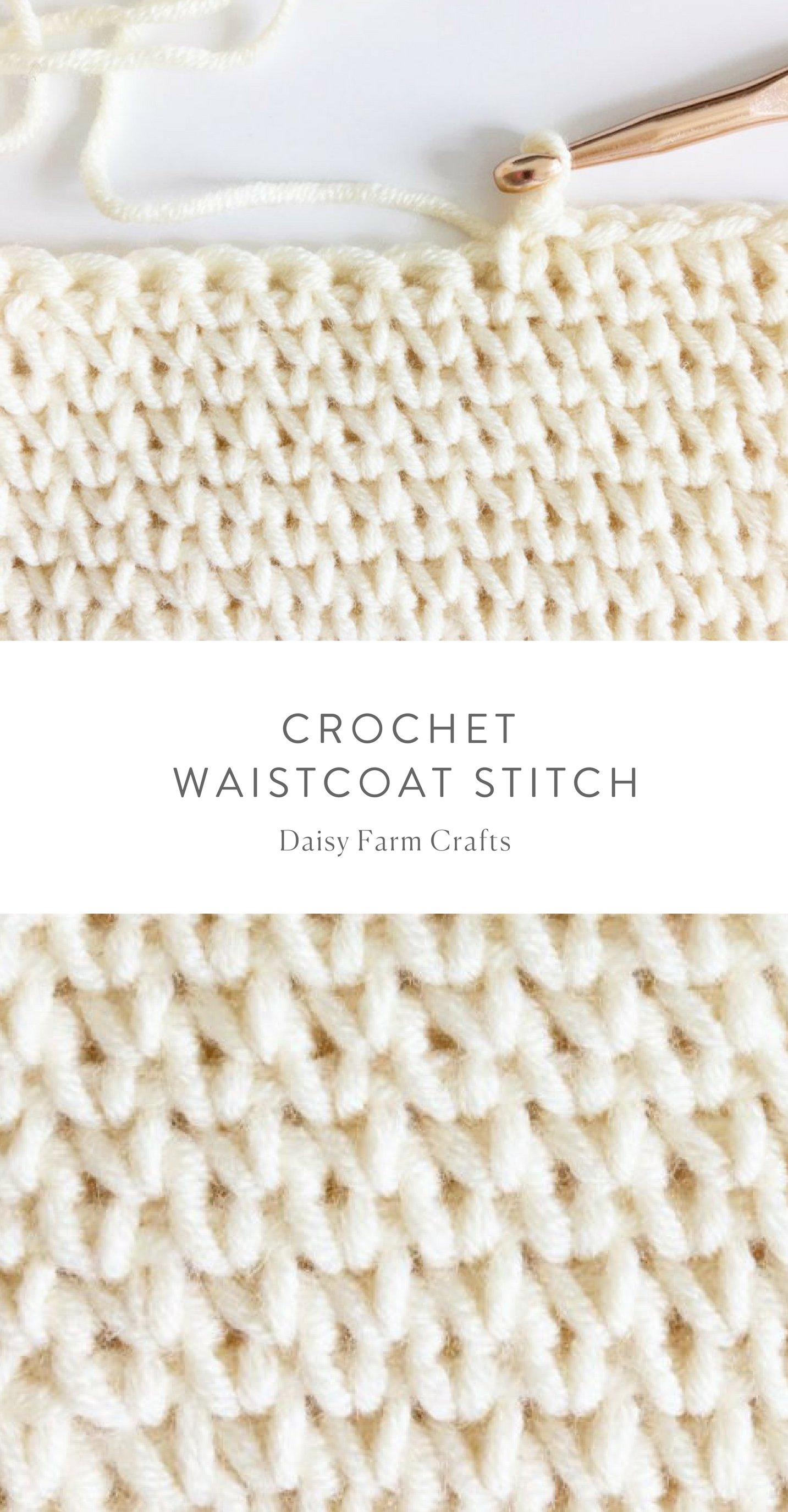 How To Crochet The Waistcoat Stitch Crochet Crochet Pinterest