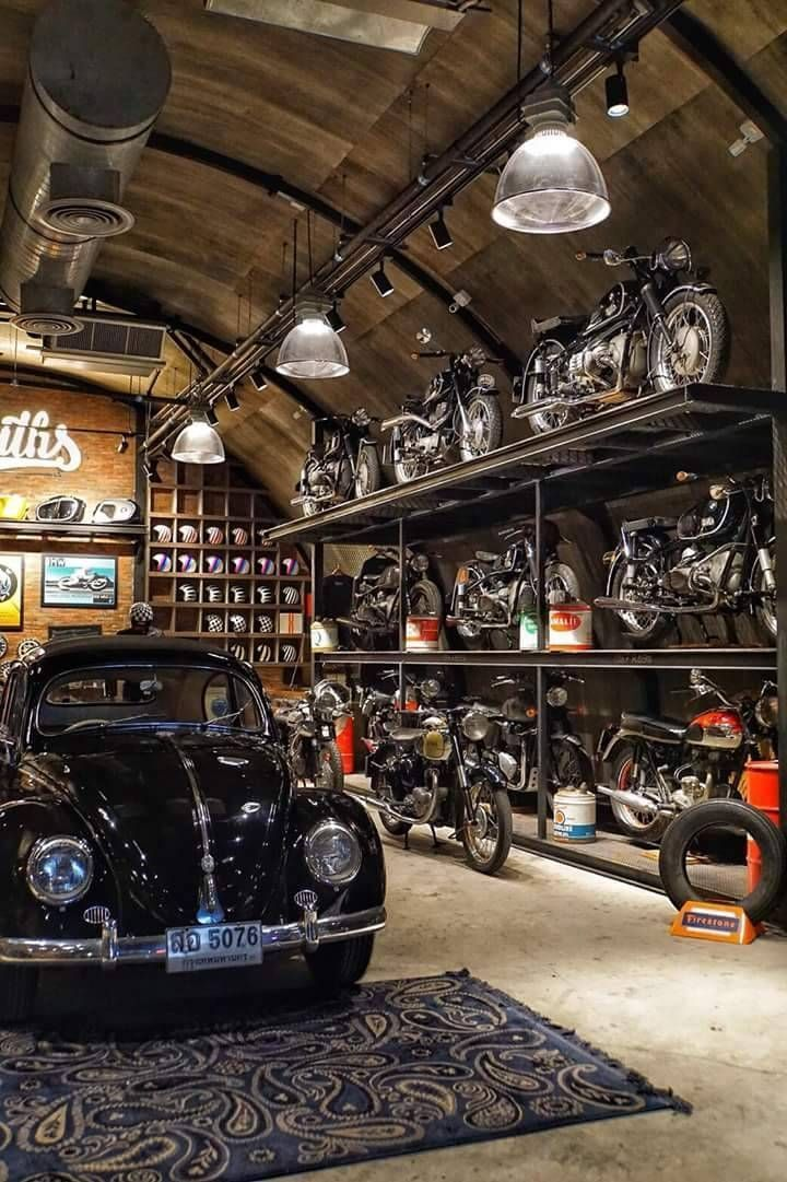 Photo of Car Moto Garage Idee mit Industriedesign pro eine #garage #industriedesign