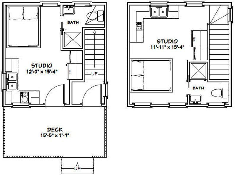16x16 Duplex 441 Sq Ft Pdf Floor Plan Instant Etsy In 2021 Duplex Floor Plans Floor Plans Cabin House Plans