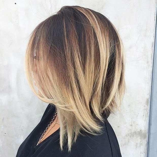 Shoulder Length Bob Haircut With Blonde Balayage Highlights Hair Styles Bob Hairstyles Long Bob Hairstyles
