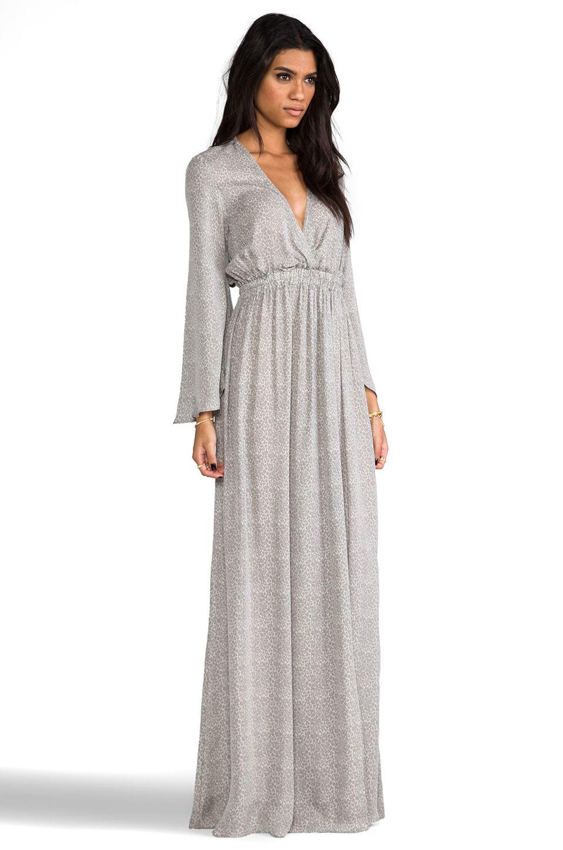 Loveshackfancy baby leopard long sleeve slit maxi dress in grey