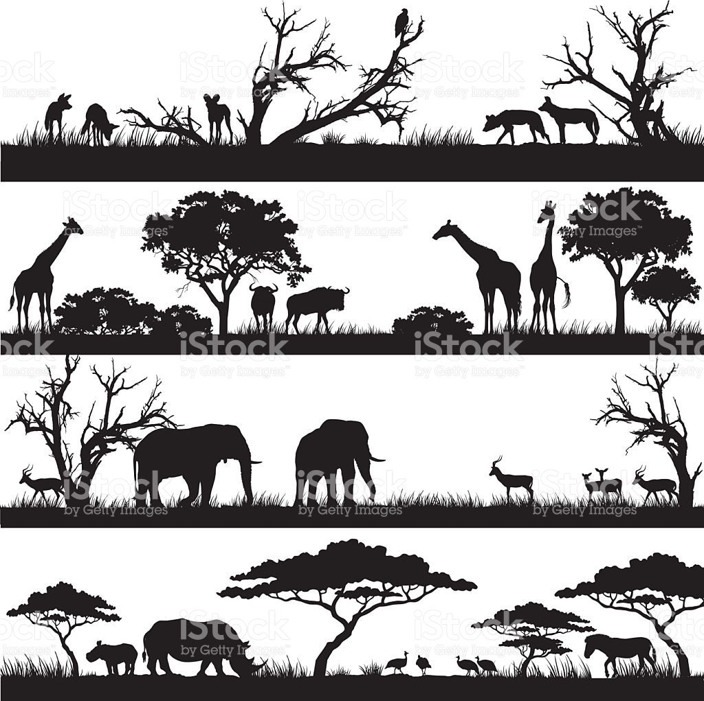 Four panels of african silhouettes with african wild