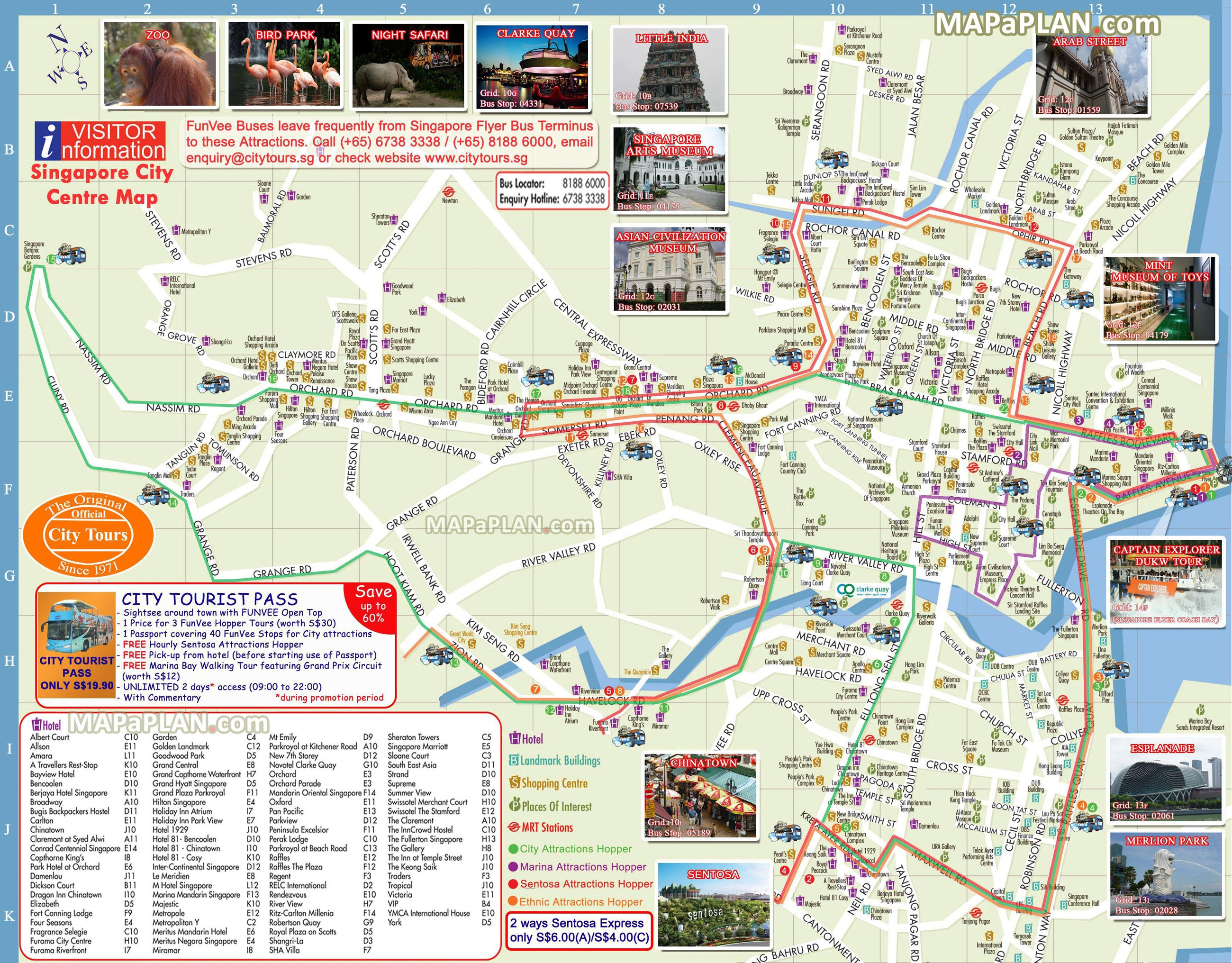 Hop-on hop-off FunVee City Tours bus landmarks routes Singapore top ...