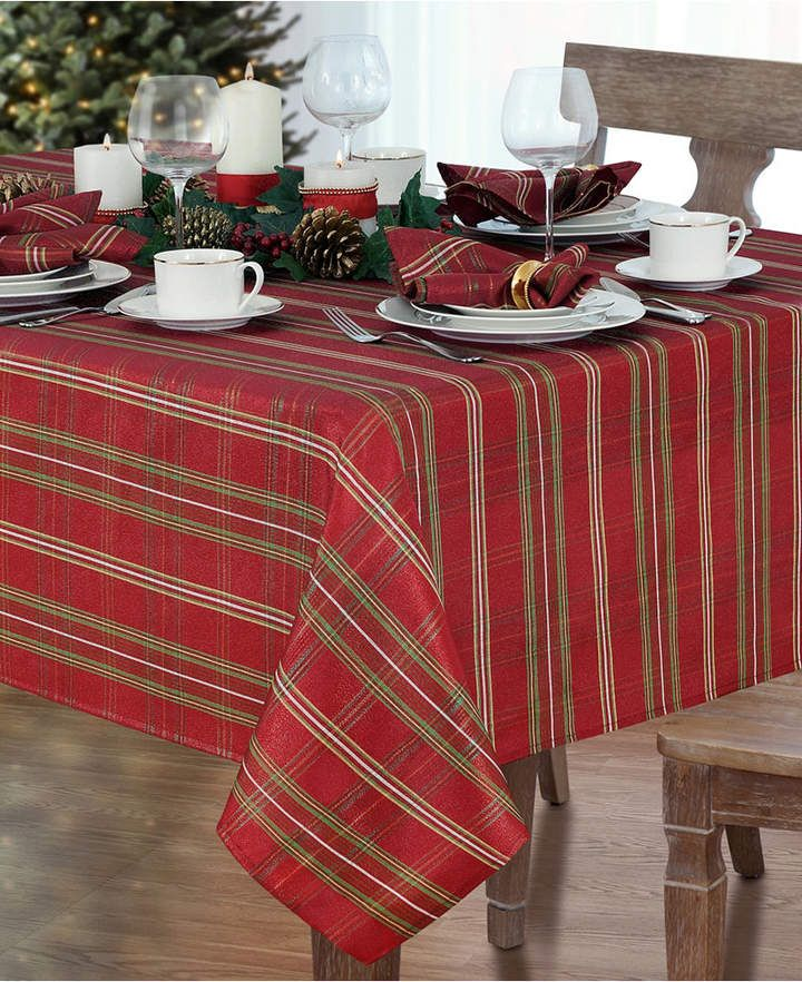 Elrene Shimmering Plaid 60 X 120 Tablecloth Reviews Table