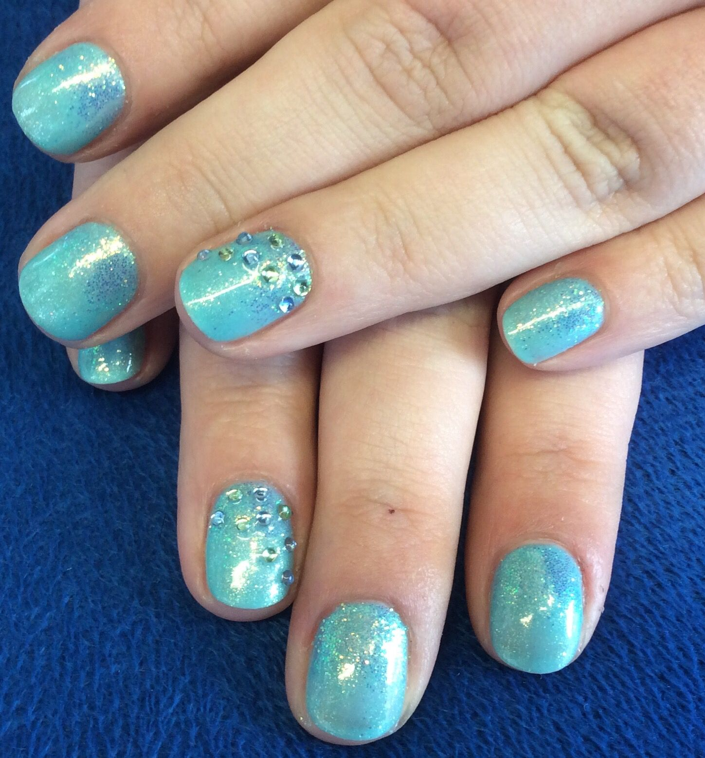 'Party at the Palace' Gelish with glitter and gems by Tori