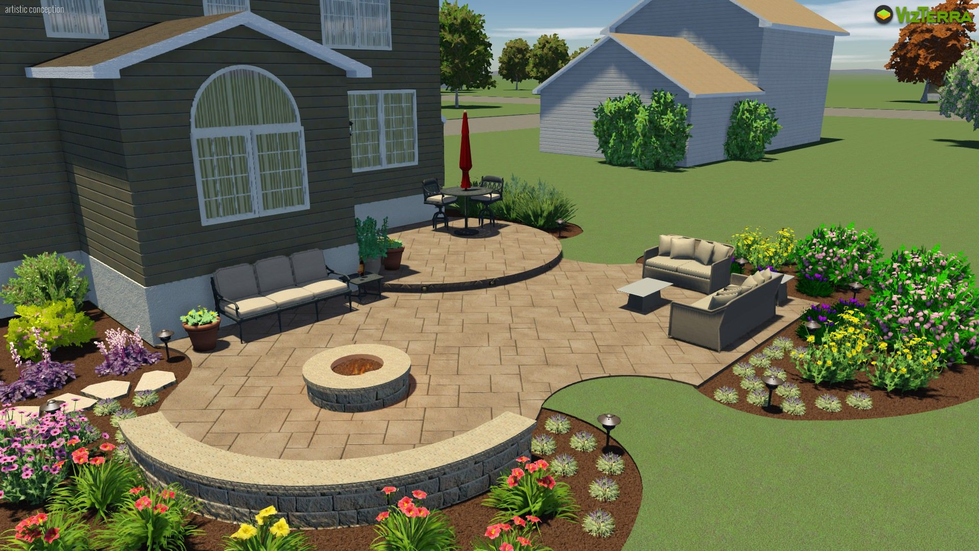 A Two Tier Patio With A Seating Wall And Fire Pit Patio