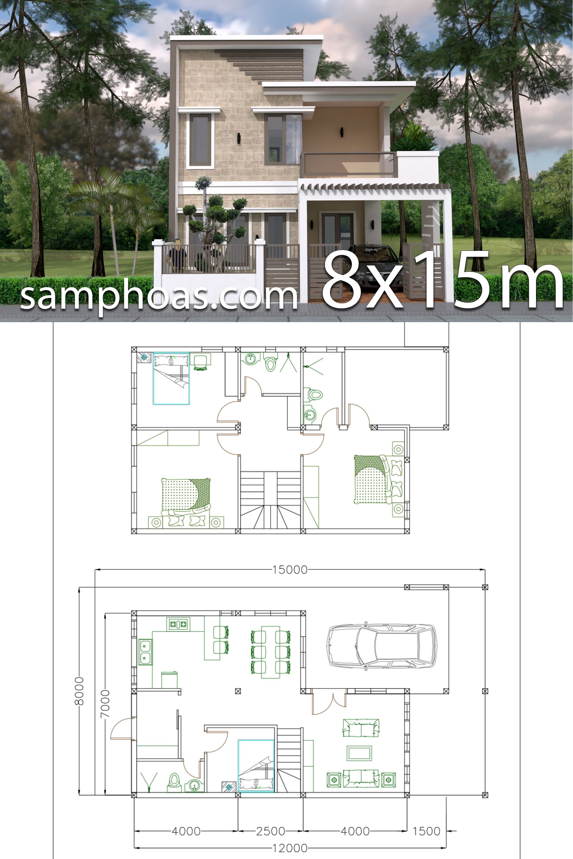 Home Design Plan 7x12m With 4 Bedrooms Plot 8x15 This Villa Is Modeling By Sam Architect With 2 St Model House Plan House Construction Plan House Layout Plans