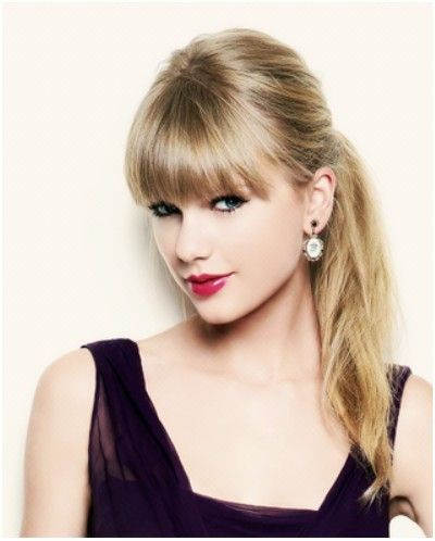 Ponytail hairstyles with blunt bangs taylor swift hair styles ponytail hairstyles with blunt bangs taylor swift hair styles popular haircuts voltagebd Image collections