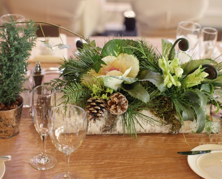 Birkenstamm Deko Tisch  Behalter Blumen Tannenzweige Weihnachten Home Design Ideas