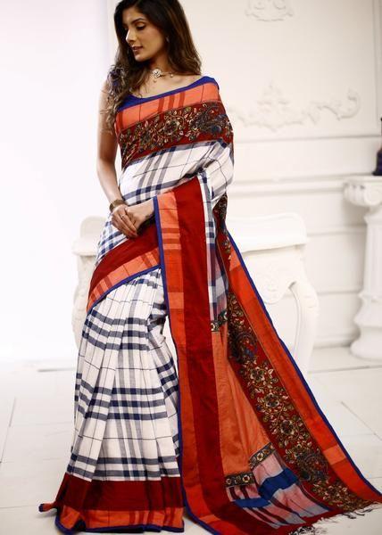 a68e6cf264cc2a Gamcha cotton saree with kalamkari printed border | Ethnic Wear ...