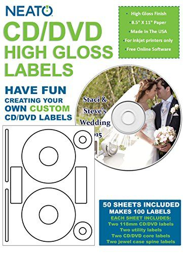 neato blank high gloss cd dvd labels clp 192372 100 labels https