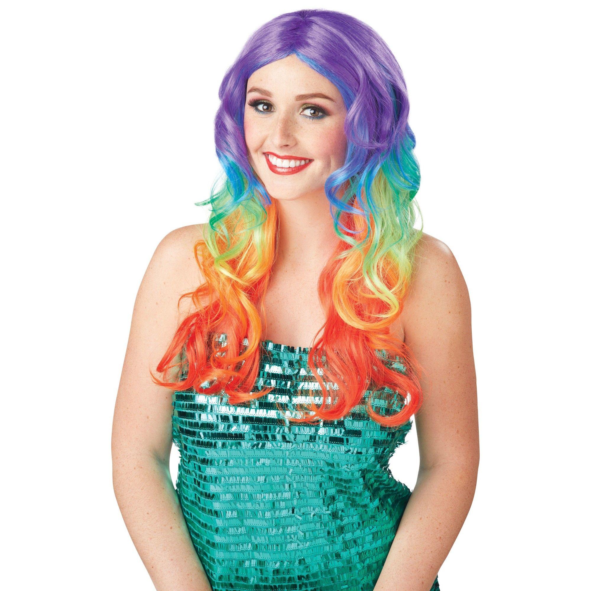 Kaleidoscope Rainbow Layered Punk Rock Women Costume Wig